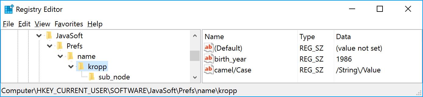 Java Preferences API